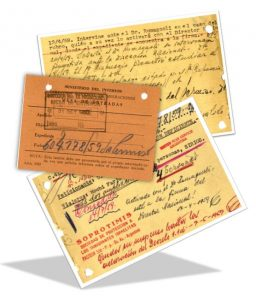 File cards from the Soprotimis archive, including updated information on each family's whereabouts as it moved from one continent to another