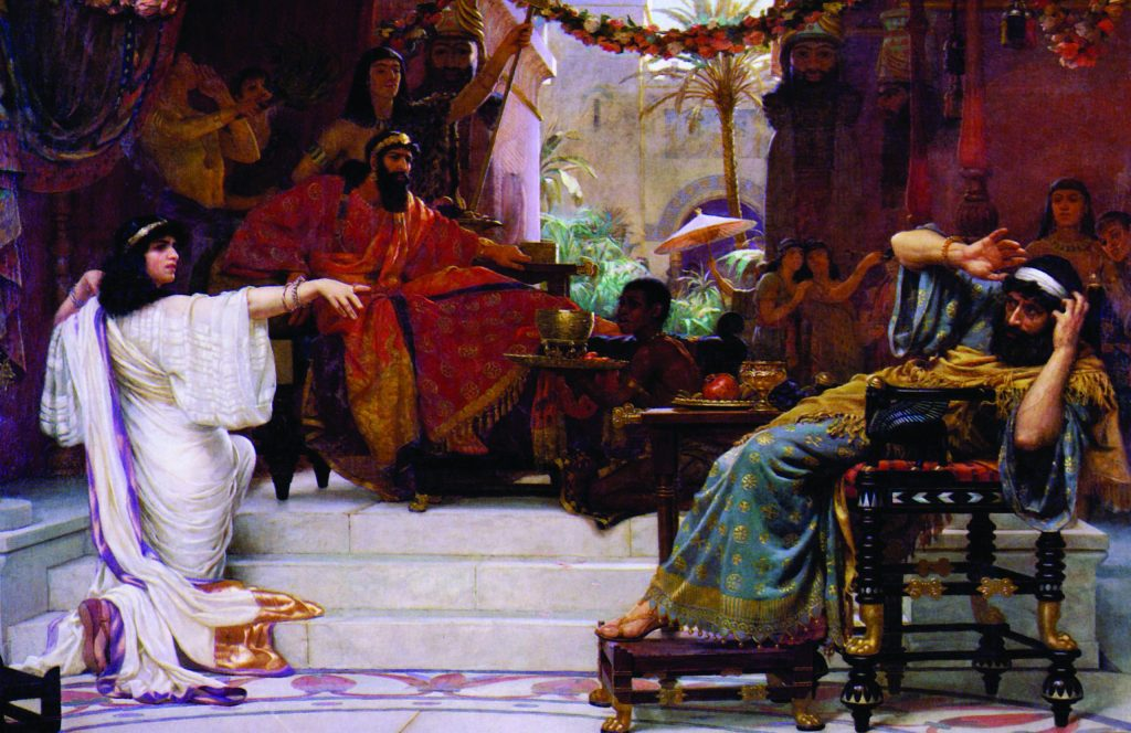 Do the biblical Haman and his conspiracy have any historical basis? Esther accusing Haman, Ernest Norman, oil on canvas, 1888