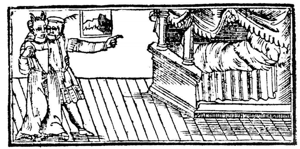 היו בתי עשירים שבהם האיש והאישה ישנו במיטה בלי ילדיהם. איור מתוך משלי חיות, ורונה, 1595