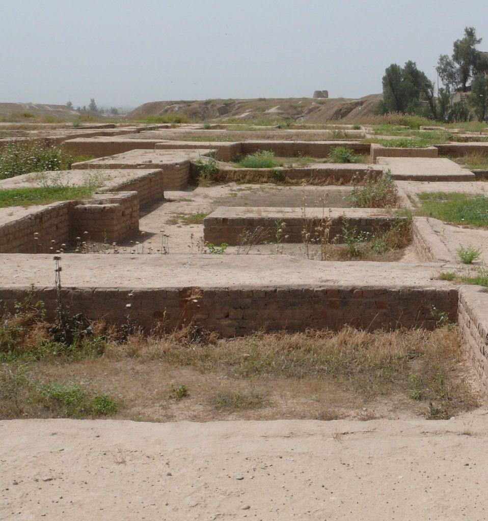 The squares in the foreground are the remains of the Persian royal palace in Shushan.