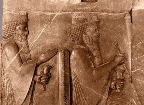Relief showing Darius I seated, with Xerxes I standing behind him, Persepolis, Iran.