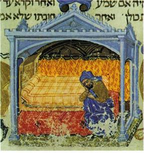 """בימי הביניים הרבו אמנים לצייר מיטות מפוארות ומיטותיהם של פשוטי העם לא זכו לתיעוד. מיטה עם אפיריון מתוך כתב יד מאויר של משנה תורה לרמב""""ם"""