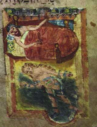 עדות מצוירת לשינה בעירום. האריגים הצבעוניים מעידים על עושרה של הדמות. מתוך כתב יד מאויר של ספר מנהגים עברי מימי הביניים