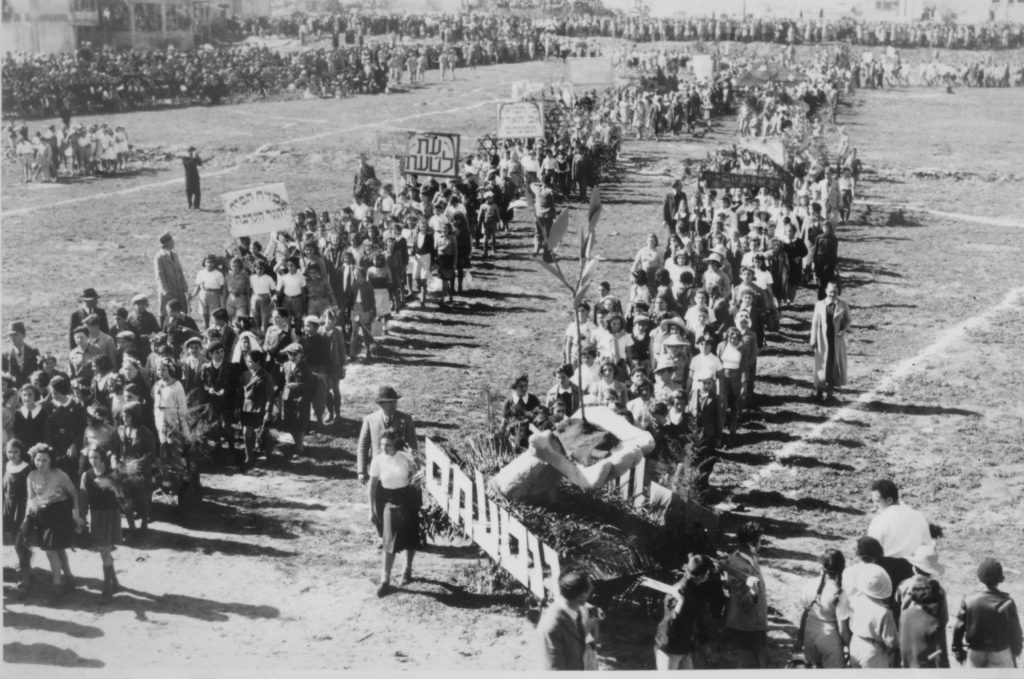 Tree-planting procession in Tel Aviv, 15 Shvat, 1937