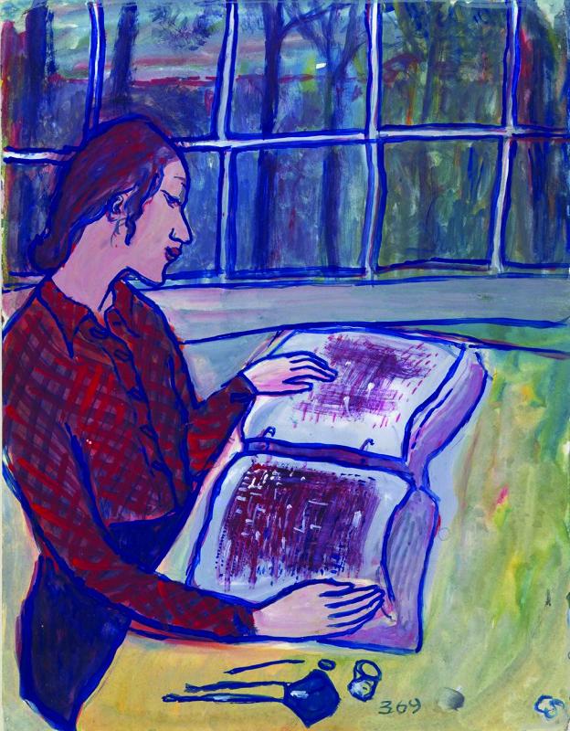 מתוך כ-1,300 ציורים בחרה שרלוטה 769, מספרה אותם והוסיפה להם כיתובים. ציור מספר 369