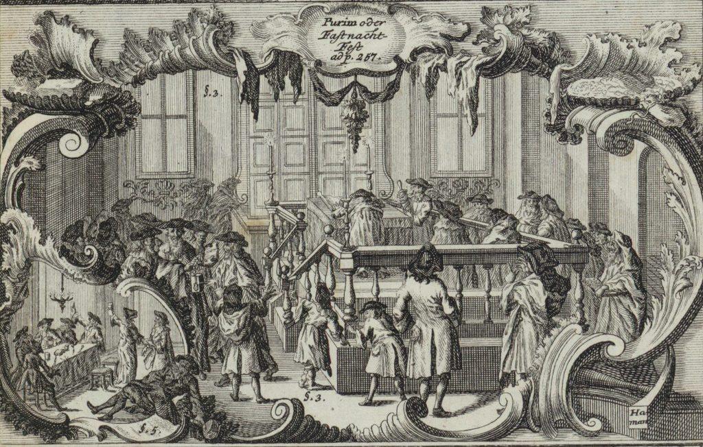 ייקיוּת אחרת. קריאת המגילה בליל פורים, מתוך ספר על מנהגי היהודים שנכתב על ידי התאולוג הפרוטסטנטי ג'והן בודנשץ. פרנקפורט ולייפציג, 1748