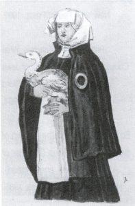 אישה יהודיה מוורמייזא, המאה ה-16. הטבעת שעל הגלימה היא מעין סימן שהיהודים חויבו לשאת על בגדם