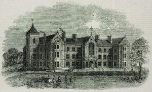 במאה ה-18 החלו קהילות יהודיות להקים בתי חולים כלליים. בית החולים נווה צדק שהוקם בלונדון ב-1795. איור מ-1863