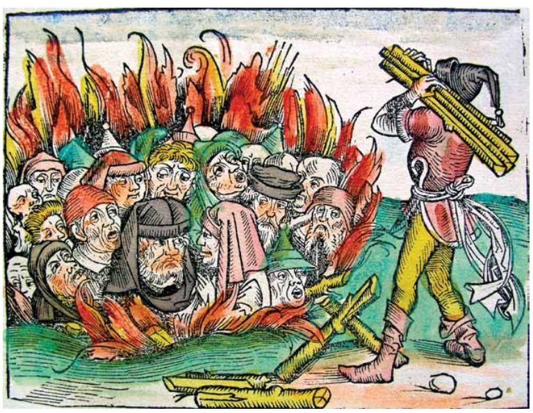 היהודים הואשמו בציד עכבישים, בהרעלת בארות ובהפצת מחלות והיו השעיר לעזאזל של אירופה המבוהלת. יהודים נשרפים על המוקד