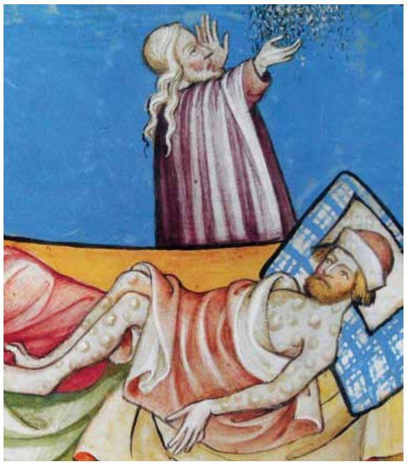מכת השחין. איור מ'הגדת הזהב', ברצלונה 1320