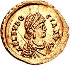 Portrait of Eudocia on a golden coin from Constantinopole, 5thh century