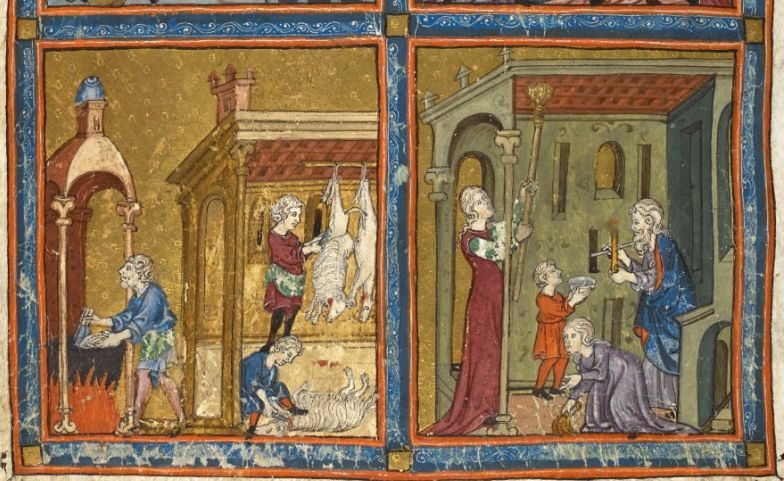Women clean for Pesach, reaching up to ceilings and down to skirtings, while men search hidden crevices by candlelight for crumbs, each playing their part in the ritual of removing leaven from the home. Illustration from the Golden Haggada, circa 1320