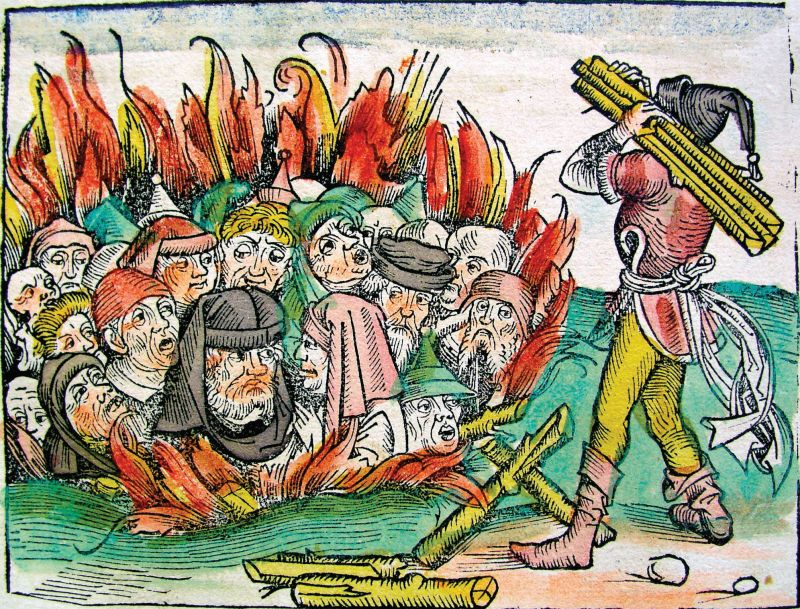 Accused of trapping spiders, poisoning wells, and all other means of spreading plague, the Jews of terrified Europe were defenseless scapegoats in the chaos. Jews in discriminatory headgear, burning to death.