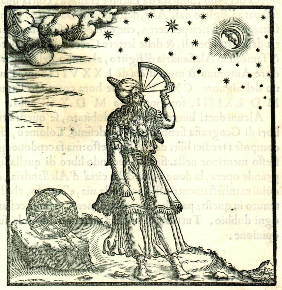 אשתורי עבד מתוך תפיסה גיאוגרפית מדעית. תמונה של הגיאוגרף תלמי משתמש ברובע, מכשיר מדידה שהמציא יעקב בן מכיר, קרובו של אשתורי. מתוך ספר איטלקי מהמאה ה-16