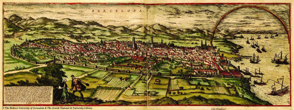 """בספר שכתב בזמן שהותו בעיר הרבה אשתורי לצטט את רשב""""א. מפת ברצלונה כפי שצוירה בידי פרנץ הוגנברג 1572, מתוך הספר ערי העולם מאת פרנץ הוגנברג וגיאורג בראון"""