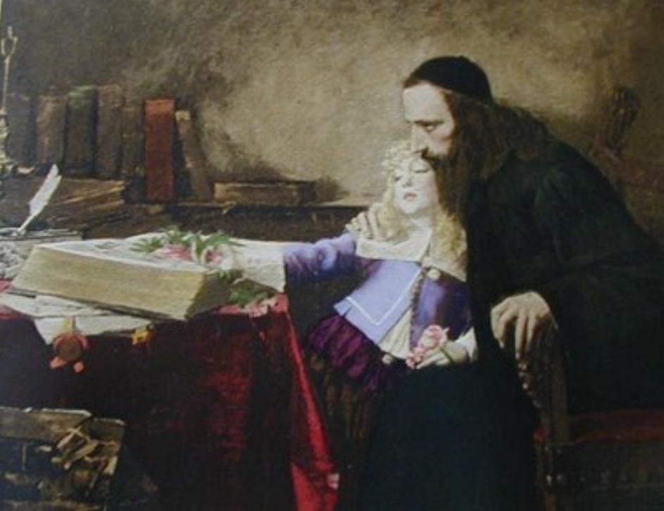 האם אוריאל דה קוסטה השפיע על הפילוסוף הגדול שפינוזה שגם הוא הוחרם על ידי הקהילה באמסטרדם? 'פגישה דמיונית של אוריאל דה קוסטה ושפינוזה הילד באמסטרדם', שמואל הירשנברג, 1901