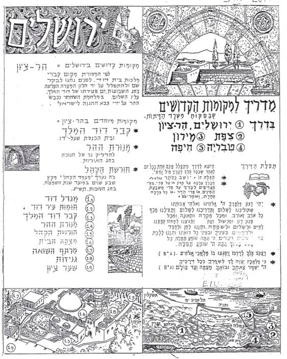 Ministry of Religious Affairs map of pilgrimage sites in Israel