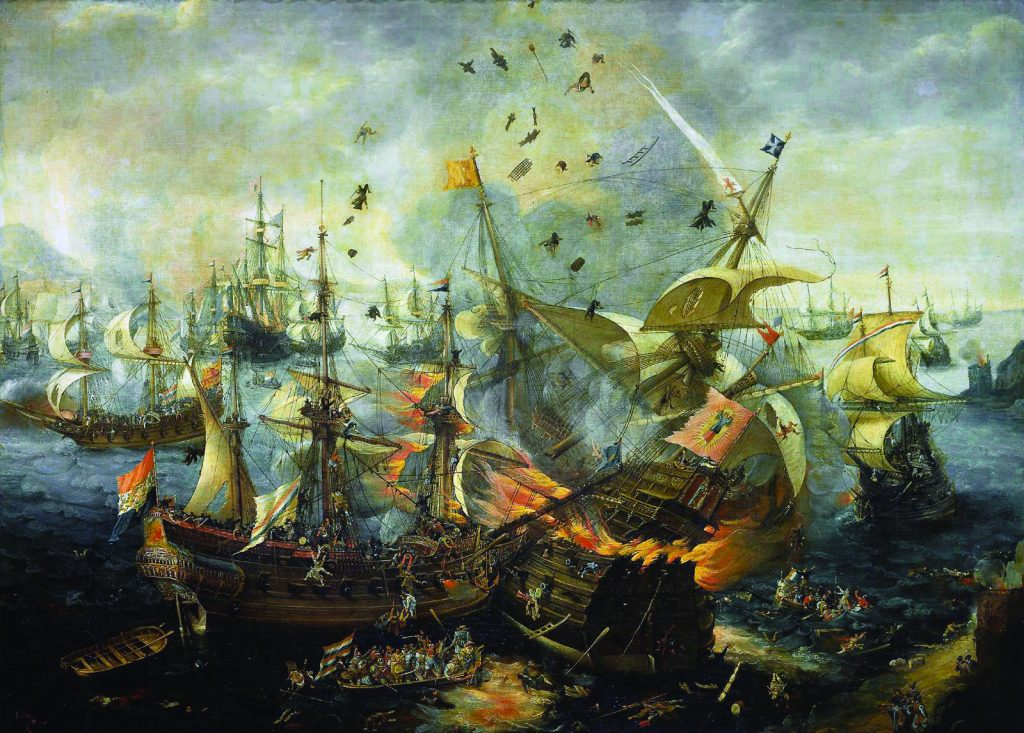 Most of Holland's major 17th-century battles were fought at sea. Flames envelop a Spanish ship in Battle of Gibraltar 1607