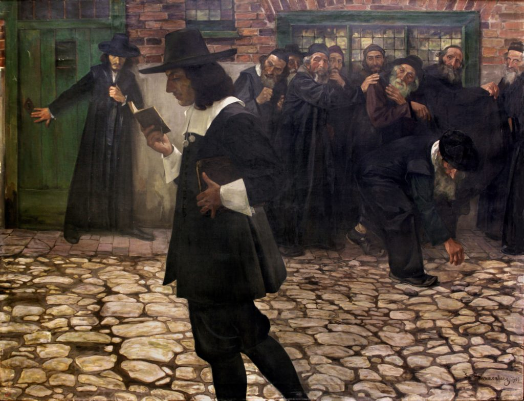 Spinoza, Excommunicated (1907) was one of Samuel Hirszenberg's last paintings, while his imagined portrait of da Costa and a young Spinoza was among his first