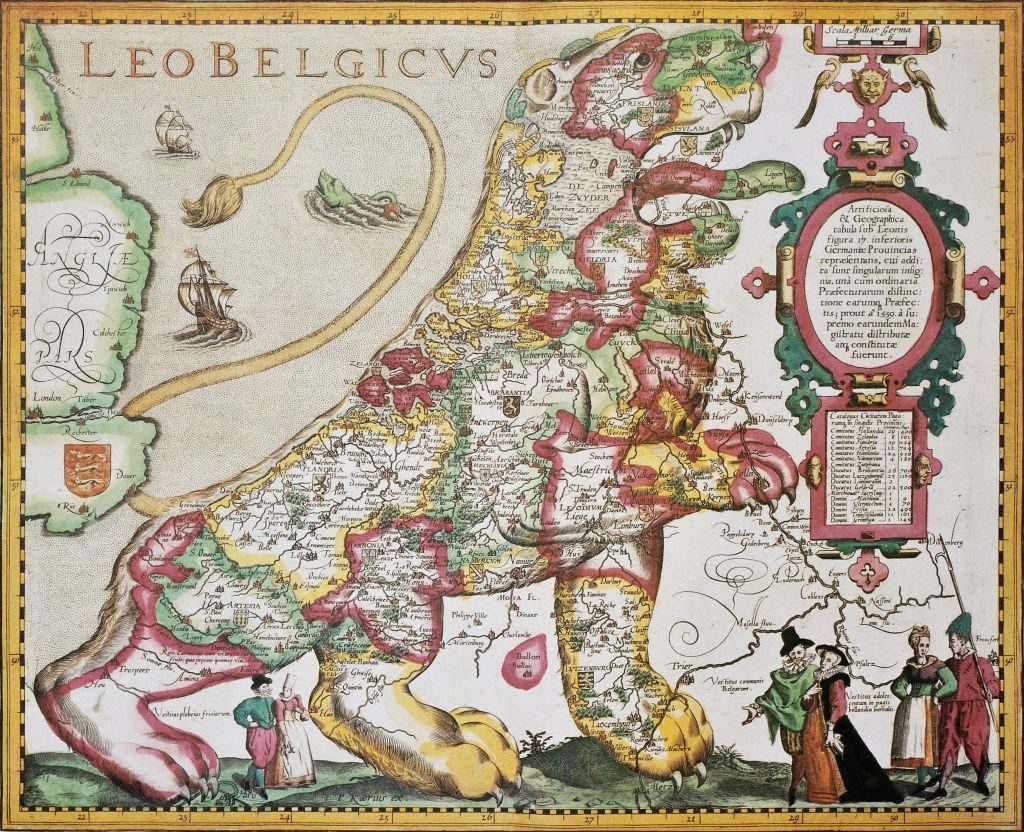 The rulers of seven provinces united to throw off the yoke of Spanish dominion. Map in the shape of the Leo Belgicus, the lion of the Low Countries – surrounded by the region's leaders
