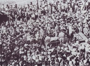 Crowds accompanying the ashes from Austrian concentration camps as Kahane brought them to Mt. Zion, June 26, 1949