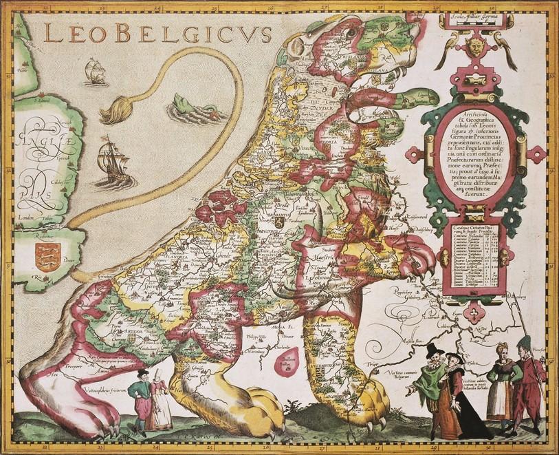 שליטי המחוזות התאחדו כדי להתנגד לכיבוש הספרדי. מפה בדמות לאו בלגיקוס - האריה של ארצות השפלה - מוקפת במושלי המדינה