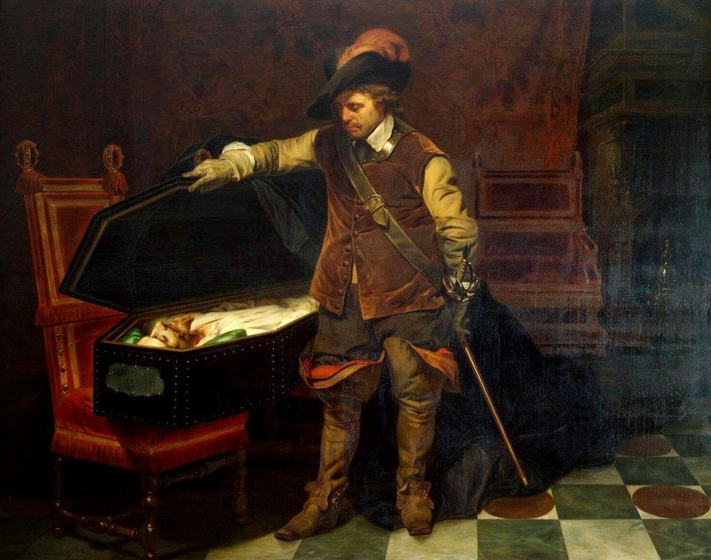 אוליבר קרומוול הדיח את המלך הקתולי ולאחר מלחמת אזרחים עקובה מדם כונן רפובליקה והעמיד עצמו בראשה. קרומוול וגופתו של המלך צ'ארלס, פול דלרוש, 1830