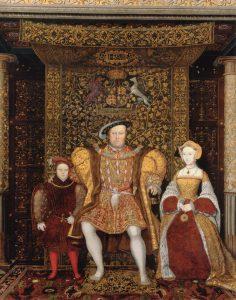 המלך הנרי רצה להתגרש מאשתו ולכן הקים באנגליה כנסייה בעלת אופי פרוטסטנטי. הנרי השמיני לצד אשתו ובנו, פרט מציור, 1545