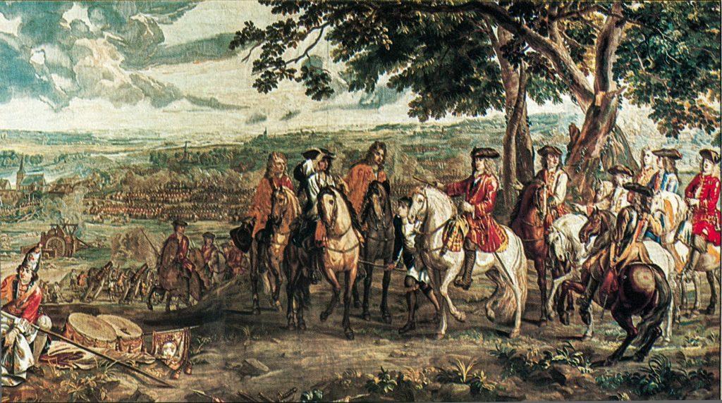 אספקה באמצעות עגלות רתומות לסוסים אפשרה למרלבורו להניע את כוחותיו למרחק של 400 קילומטר עד בלנהיים בחמישה שבועות ולהביא לכניעת הצרפתים. המרשל טאלאר נכנע לפני מרלבורו בבלנהיים, מתוך ספר איורים מהמאה ה-18