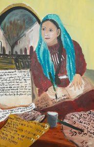 פייטנית מלומדת שדבר קיומה התגלה במקרה באקרוסטיכון ששילבה בפיוטיה. ציור מודרני של הפייטנית