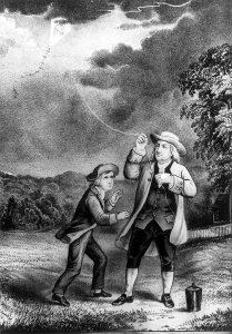 פרנקלין ערך ניסוי ללכידת ברקים ובו העיף עפיפון ביום גשום. הדפס אבן, קוריי ואייבס