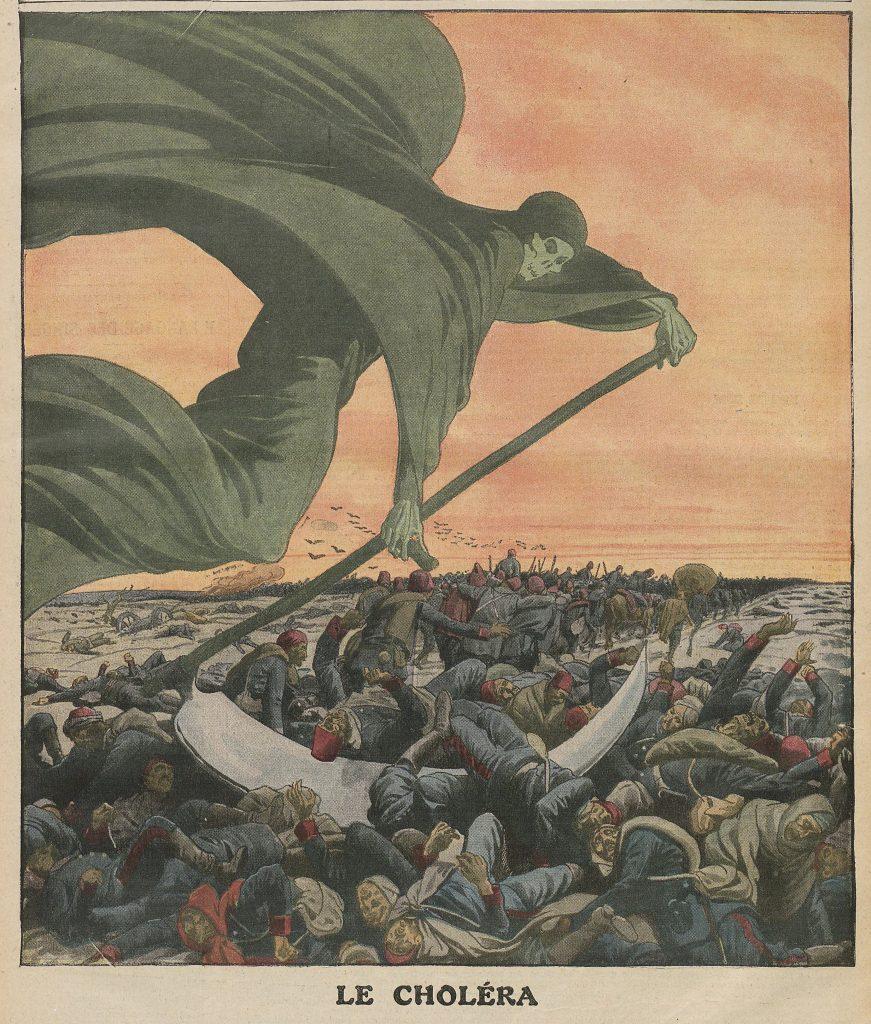 מגפת הכולרה התפרצה פעמים אחדות במאה ה-19 ובמאה העשרים והטילה את חתתה על אירופה. מלאך המוות הורג המונים, שער המוסף המאויר של לה פטי ז'ורנל, דצמבר 1912